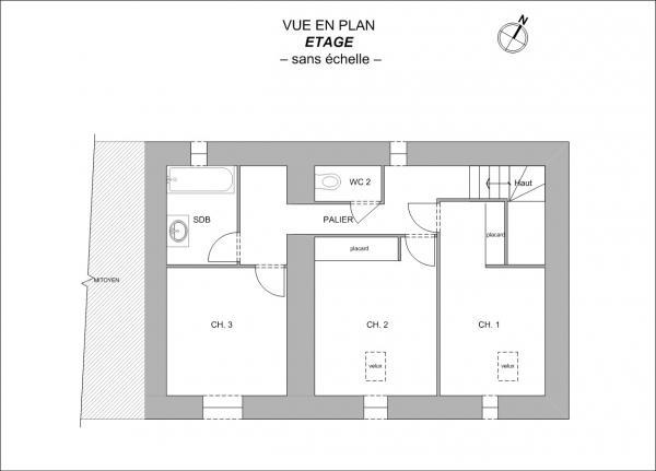 Plan Maison FE en R+1 de 95m² Boussay