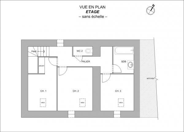Plan Maison F4 en R+1 de 91m² Boussay