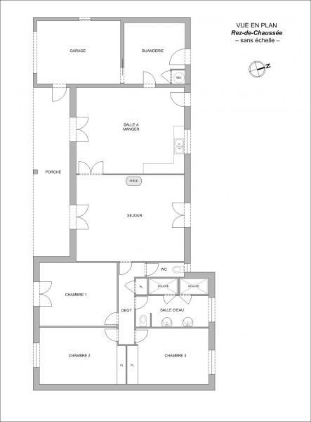 Plan maison F5  LES ANGLES