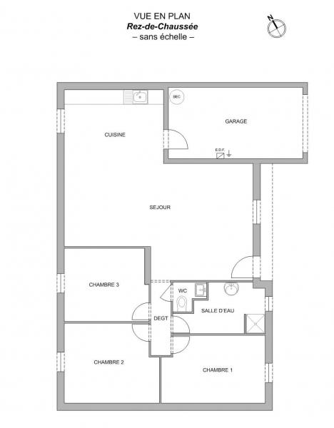 Plan Maison F4 de 91 m² ST VINCENT SUR JARD