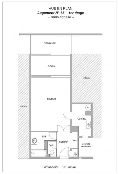 Plan Studio 36 m² Sables-d'Olonne
